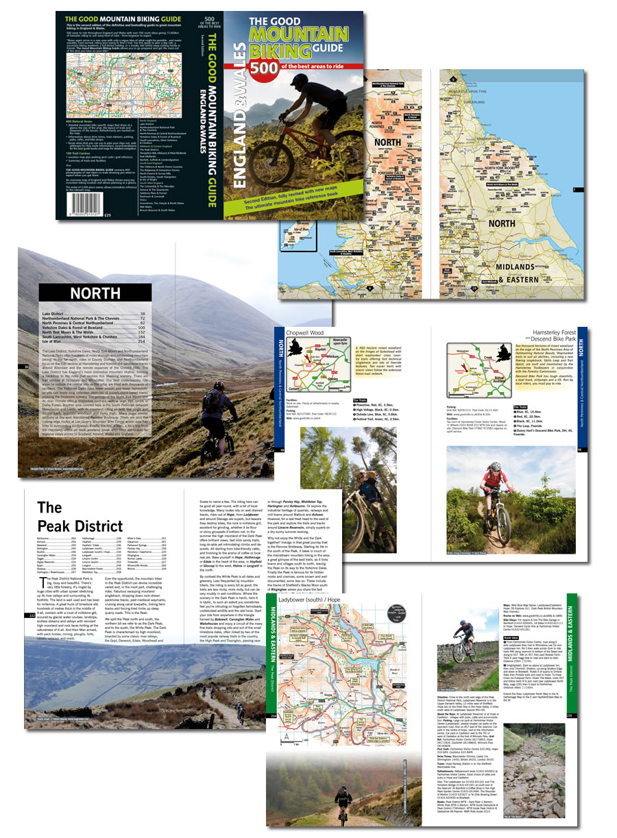 Sample pages from the Good Mountain Biking Guide Book